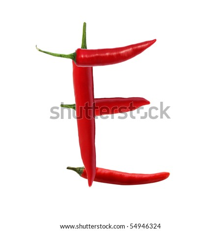 font made of hot red chili pepper isolated on white - letter E