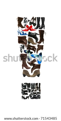 Font made of hundreds of shoes - Exclamation mark