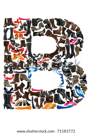 Font made of hundreds of shoes - Letter B - stock photo