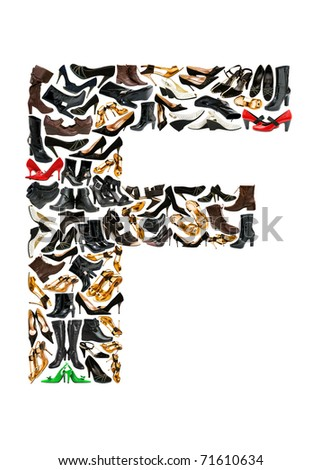 Font made of hundreds of shoes - Letter F
