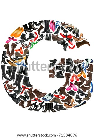 Font made of hundreds of shoes - Letter G