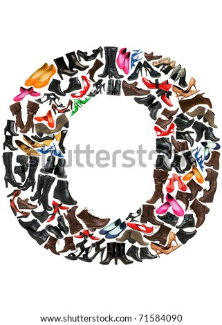 Font made of hundreds of shoes - Letter O