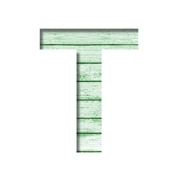 Font on an old wooden wall. The letter T cut out of paper on the background old wood wall with peeled green paint. Set of decorative fonts.