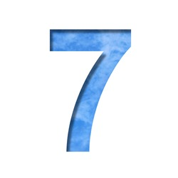 Font on blue sky.  The digit seven, 7 cut out of paper on a background of a bright blue sky with light clouds. Set of decorative natural fonts