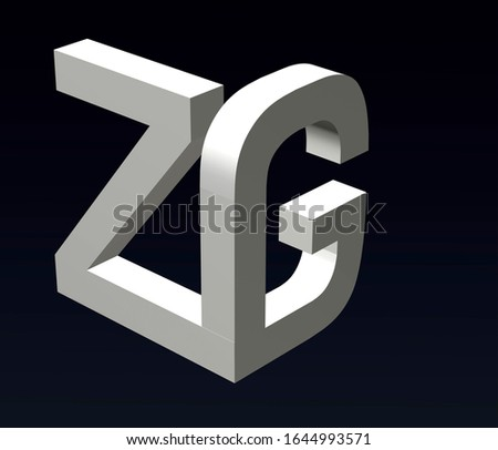 Font stylization of the letters Z and G, font composition of the logo. 3D rendering. Stok fotoğraf ©
