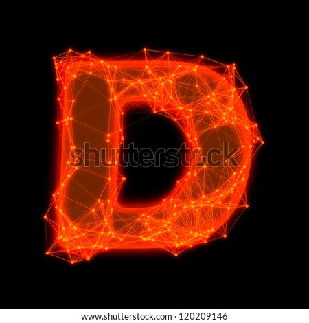 Font with glowing elements.  Letter D.