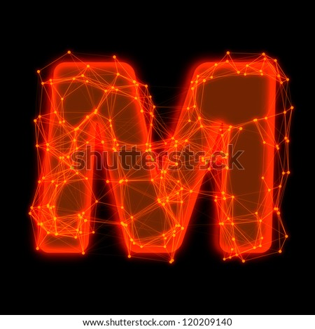 Font with glowing elements.  Letter M.