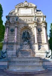 Fontaine Saint-Michel at the Latin Quarter, Paris, France.