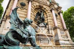 Fontaine Saint-Michel in Paris, France