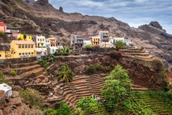 Fontainhas village and terrace fields in Santo Antao island, Cape Verde, Africa