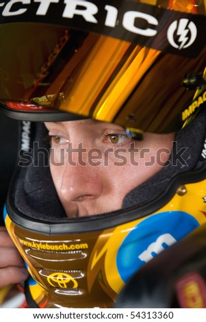 FONTANA, CA - AUG 29:  Kyle Busch waits to start practice at Auto Club Speedway for the running of the NSCS Pepsi 500 on Aug 29, 2009 in Fontana, California