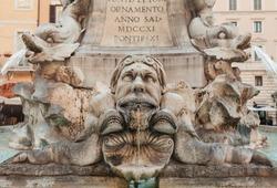 Fontana dei Pantheon fountain detail featuring ornate marble dolphins, Piazza della Rotonda, Rome, Italy