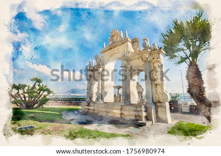Fontana del Gigante o dell'Immacolatella (Fountain of the Giant) in Naples. Campania, Italy. Napoli. Watercolor style illustration