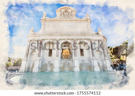 Fontana dell'Acqua Paola in Rome, Italy also known as Il Fontanone (The big fountain). Watercolor style illustration