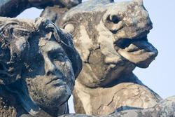 Fontana delle Naiadi, Piazza della Repubblica, Rome, Italy - Roman statue detail of face and horse