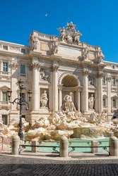 Fontana di Trevi, Trevi Fountain in Rome. The Trevi Fountain is the largest Baroque fountain, is one of the most famous landmark in Rome.