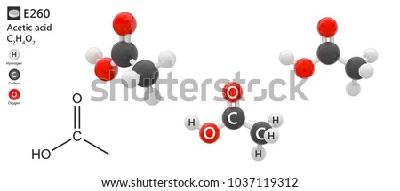 Food additive E260 (acidity regulator). Acetic acid (molecular formula: C2H4O2) is a compound used as a food preservative. 3d illustration. The molecule is represented in different structures.