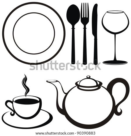 food and drink icons. Illustration