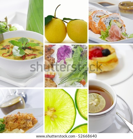 Food and drink  theme photo collage composed of few images