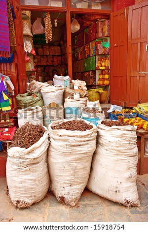 Food and spices sold in Kathmandu, Nepal