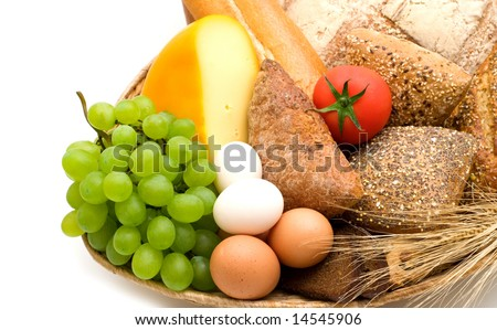 food assortment on white background