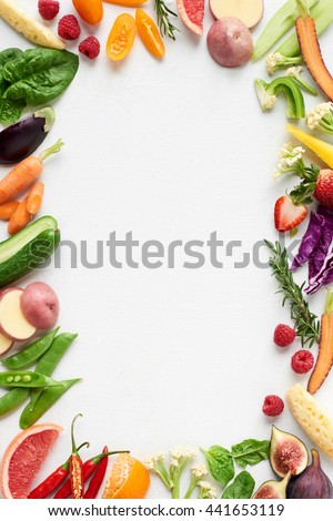 Food background border frame flat lay overhead of colorful fresh produce raw vegetables, carrot chilli cucumber purple cabbage spinach rosemary herb, plenty of copy-space in middle - Shutterstock ID 441653119