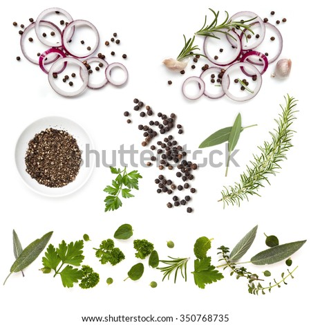 Food background collection with onions, herbs, and peppercorns, all isolated on white.  Overhead view.