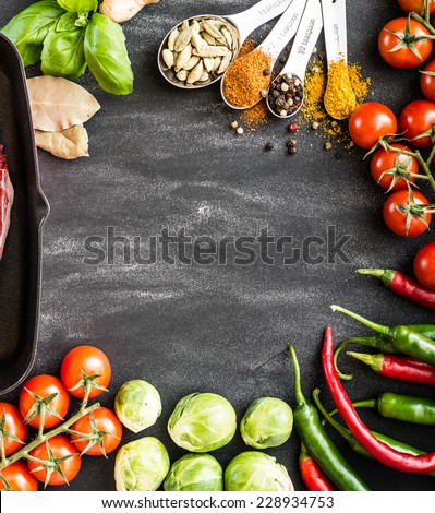 food background for text with herbs and vegetables #228934753