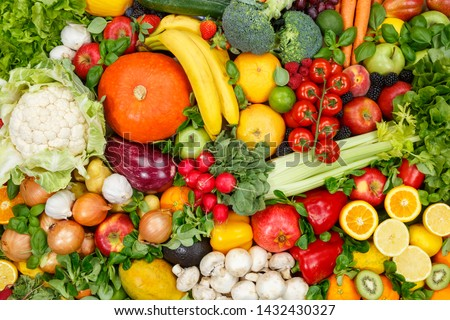 Food background fruits and vegetables collection apples oranges tomatoes fruit vegetable backgrounds