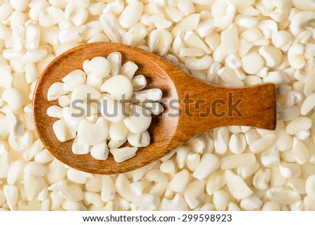 food background of raw white corn grits