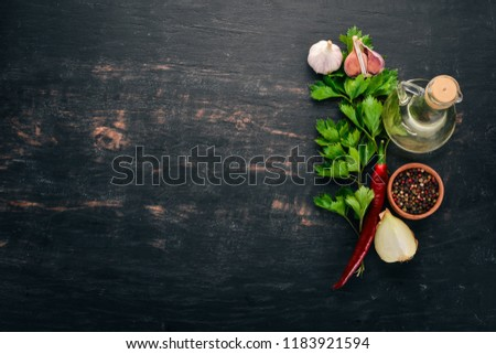Food Background. On the old wooden background. Free space for text. Top view.