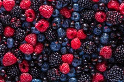 Food background, texture of assorted fresh berries