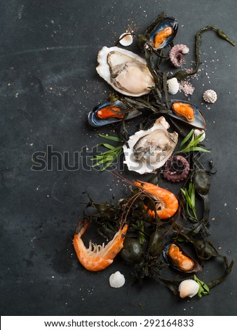 Food background with seafood, selective focus