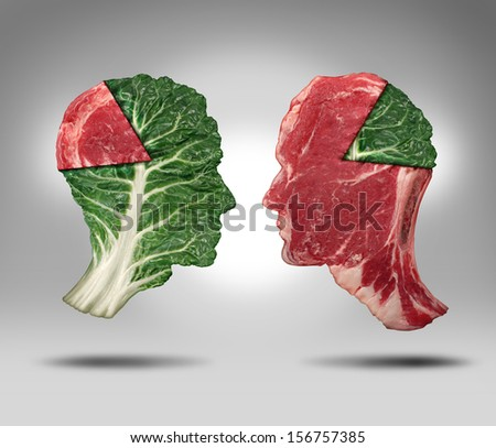 Food balance and health related eating choices with a human head shape green vegetable kale leaf with a piece of meat as a pie chart facing an opposite red steak for nutritional decisions and diet. - stock photo