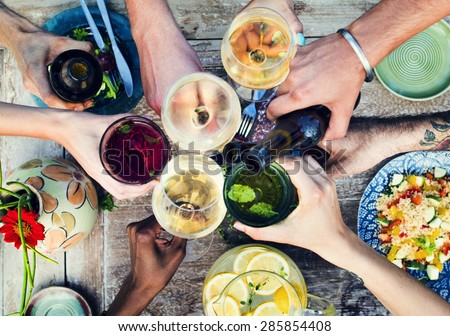 Food Beverage Party Meal Drink Concept - Shutterstock ID 285854408