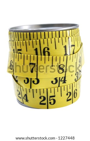Food can wrapped in measuring tape on white