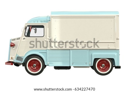 Food car retro style, side view. 3D rendering Foto stock ©