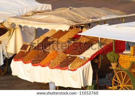 Food Cart at the Djemma El Fna Square in (Marrakech) - stock photo