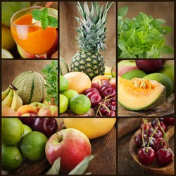 Food colage series. Collage of fresh fruit.  Fruit juice, pinneapple, apples, kiwi,cherry, lime, grapefruit, melon and other oriental fruit.