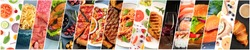 Food collage design template. Various tasty dishes, including a burger, a pizza, pasta, beef steak. A restaurant menu cover or a groceries shop flyer