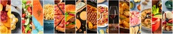 Food collage design template. Various tasty dishes, including a burger, a pizza, seafood, beef steak. A restaurant menu cover or a groceries shop flyer