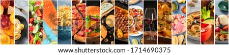 Food collage design template. Various tasty dishes, including a burger, a pizza, seafood, beef steak. A restaurant menu cover or a groceries shop flyer Stock photo ©