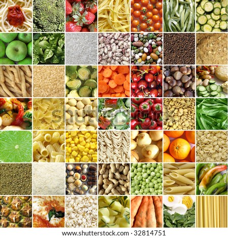 Food collage including 49 pictures of vegetables, fruit, pasta and more
