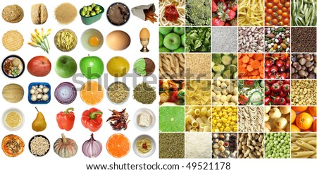 Food collage including pictures of vegetables, fruit, pasta isolated and as a background