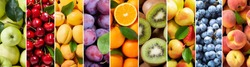 food collage of various fresh fruits as background, top view