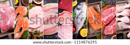 food collage of various fresh meat, chicken and fish, top view