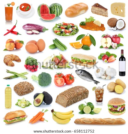Food collection background healthy eating fruits and vegetables fruit drinks isolated on a white background