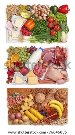 Food combining concept - three groups - stock photo