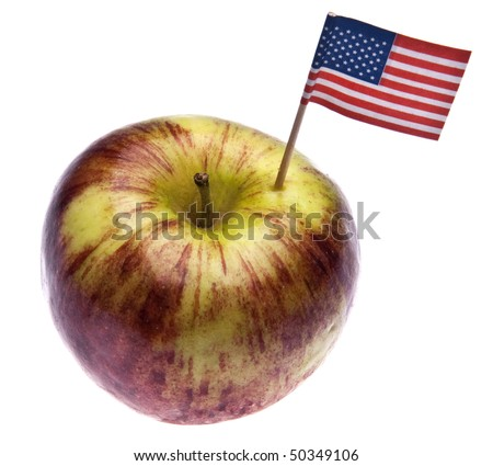Food concept of fruit with American flag in fruit.