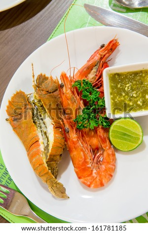 Food concept - prawn and mantis shrimp